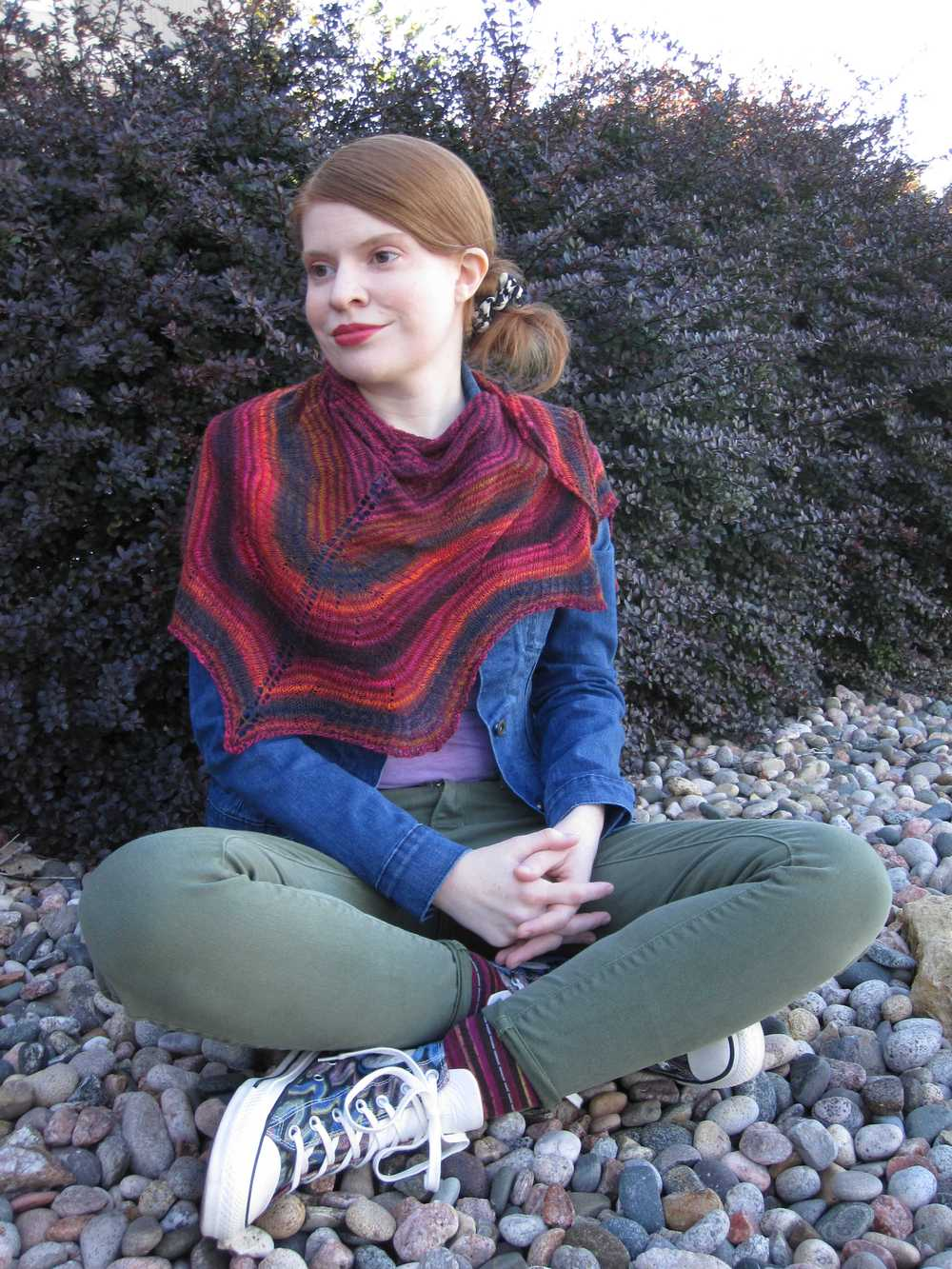 Rosita shawlette wrapped around shoulders kerchief style